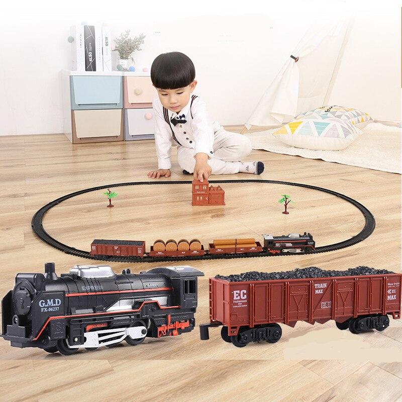 Classic toys train model Boys birthday Christmas New Year gift Simulated rail Freight train blocks brinquedos Toys for children