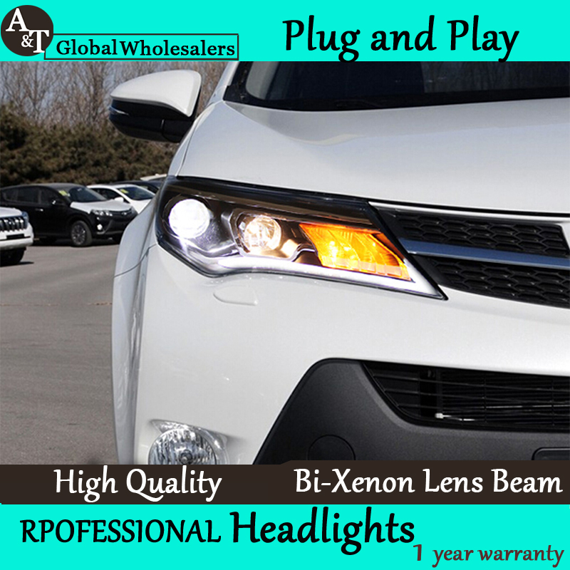 Car Styling for Toyota RAV4 Headlights New RAV4 LED Headlight DRL Lens Double Beam H7 HID Xenon bi xenon lens hireno headlamp for 2011 2015 toyota fortuner headlight assembly led drl angel lens double beam hid xenon 2pcs