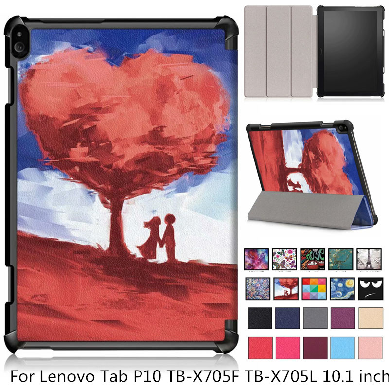 New arrival fashion Slim Magnetic Folding cover case For <font><b>Lenovo</b></font> Tab P10 TB-<font><b>X705F</b></font> TB-X705L Smart case For <font><b>Lenovo</b></font> Tab P10 case image