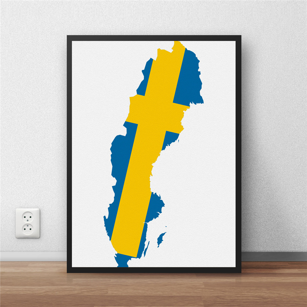 Online Shop Sweden Flag Modern Coated Poster Library Country Map - Sweden map poster