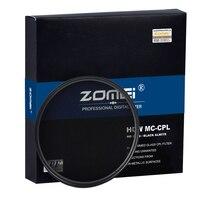 Zomei HD Высокое разрешение CPL круговой поляризатор поляризационный фильтр оптический Стекло для Nikon Canon Nikon Fujifilm цифровых зеркальных камер объ