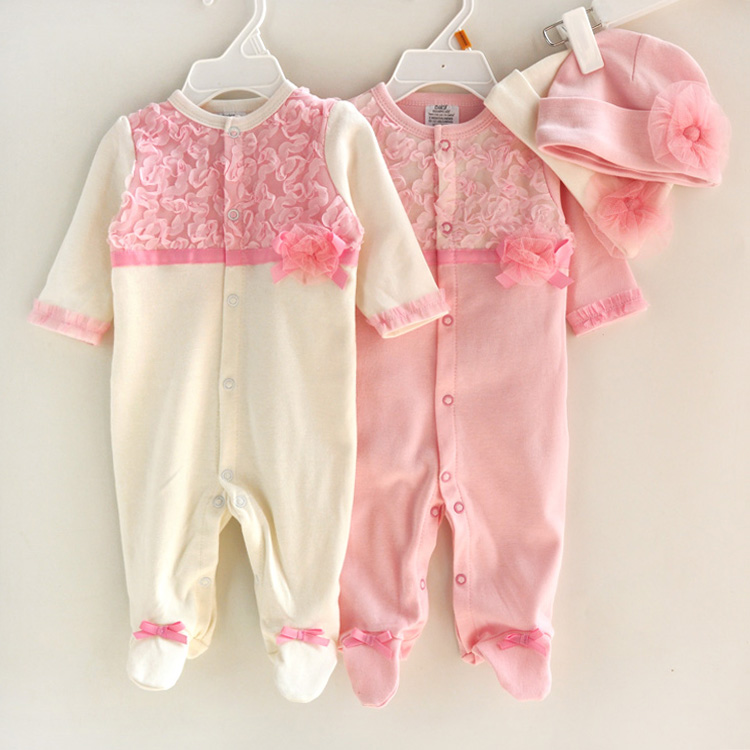 3pcslot Spring baby infant rompers boys long sleeve Romper trendy climb Pink White jumpsuit With Caps 3-9M sylvia 887349391