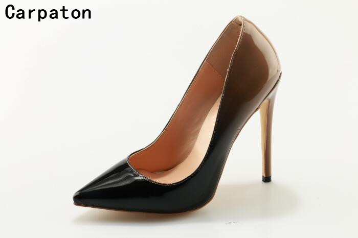 Carpaton new fashion women high heel pointed toe slip-on elegant dress shoes super high thin heels sexy pumps Autumn stilettos women studded high heels pointed toe sexy pumps new 2017 ladies slip on thin heel shoes riveted free shipping