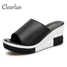 Wedge slippers summer new fish mouth thick bottom wild muffin sandals fashion wear black and white one-piece sandalsC1271
