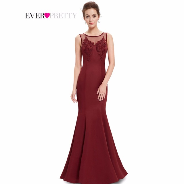 Prom Dresses Ever Pretty HE08358 2017 New Arrival Women Elegant Round Neck Mermaid Maxi Long Summer Style Party Dresses