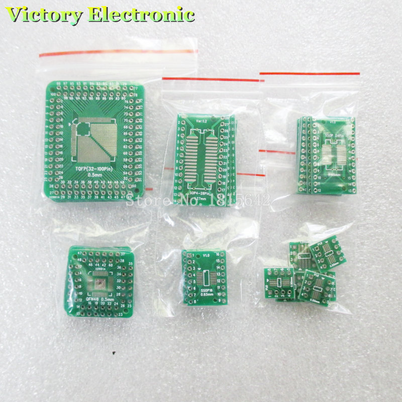 30PCS/LOT PCB Board Kit SMD Turn To DIP Adapter Converter Plate FQFP 32 44 64 80 100 HTQFP QFN48 SOP SSOP TSSOP 8 16 24 28