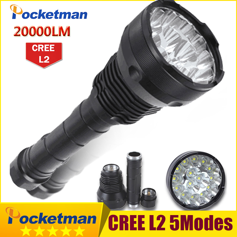 20000 Lumens LED Flashlight 15 x CREE XM-L2 LED 5 Modes Waterproof Super Bright LED Torch Flashlight  Linterna Lampe Torche Lamp 20000 lumens 15 x cree xm l2 led 5 light modes waterproof super bright flashlight torch with 1200m lighting distance