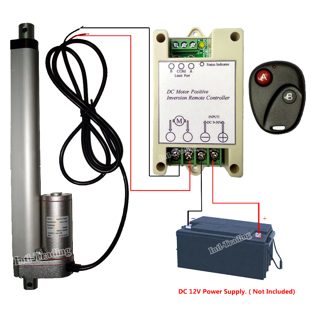 bundle kit 200mm 8 stroke 1500n 12volt dc linear actuator positive inversion controller [ 1000 x 1000 Pixel ]