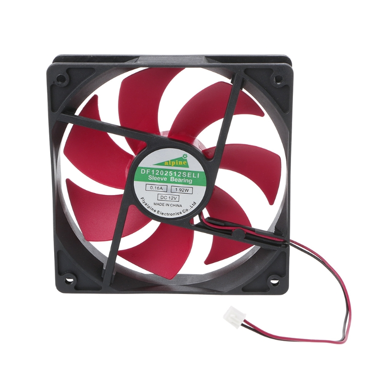 DC Brushless Cooling Fan 12V 0.2A 12025s 120x120x25mm 3 Pin Wire Cooler Red US