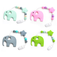 Silicone Pacifier BPA Free Elephant Baby Teether Hand Made Funny Colorful Bead Clip Holder Pacifier Clips
