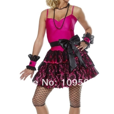 free shipping zy252 80s Madonna Pop Star Material Girl Dress Up Costume 8728b822fbfd