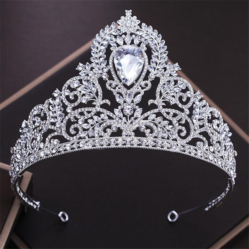 Queen Tiara Crown Water Drop Crystal Headbands Women Bridal Tiaras and Crowns Wedding Hair Jewelry Accessories Pageant Diadem