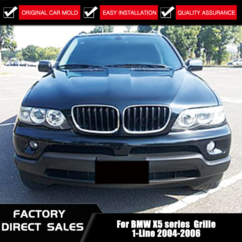Gloss Black M Color Front Bumper Kidney Grille Grills for BMW E53 X5 2004-2006