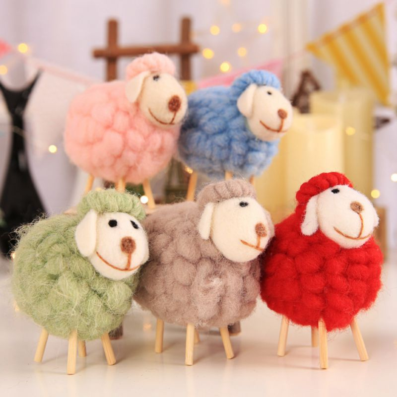 Stuffed Plush Animals Toys Wool Felt Sheep Toy For Children Kids Room Decoration Ornament Figurines Miniatures