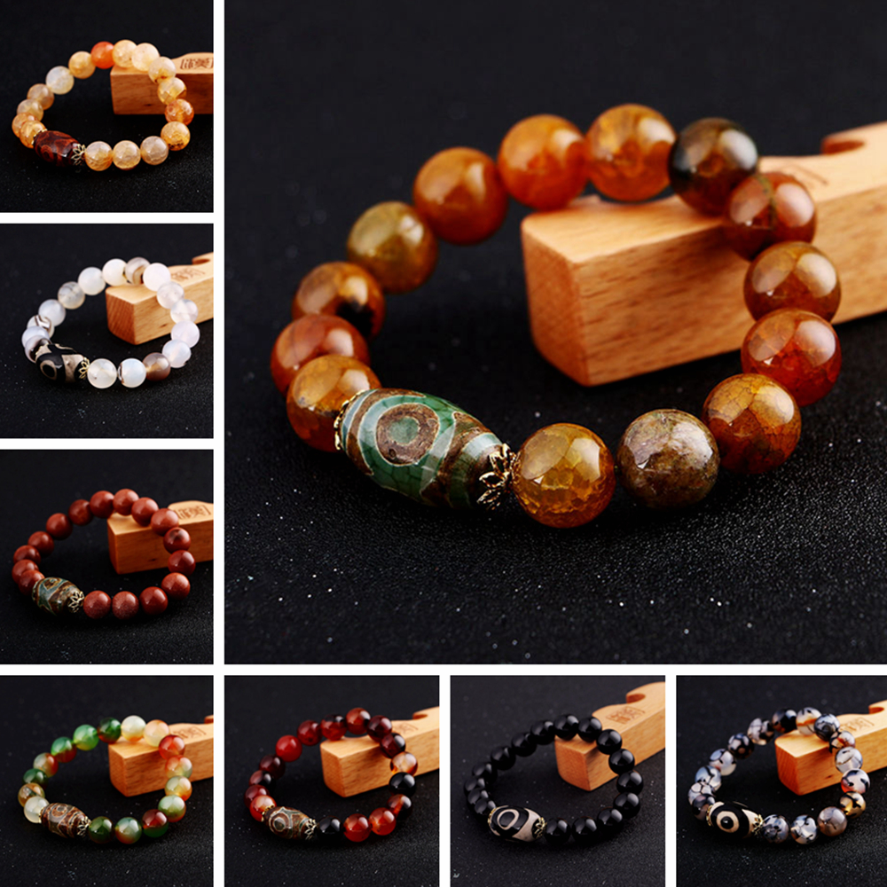 Natural Beads Bracelets Tibet Dzi Men Women Lucky 8-14mm Agate Obsidian amber Blue White Yellow Red Beads Stretch Yoga Bracelet 30x12mm natural red chalcedony 3 5 6 7 8 9 eyes pattern tibet dzi loose beads pendant tibet beads for women