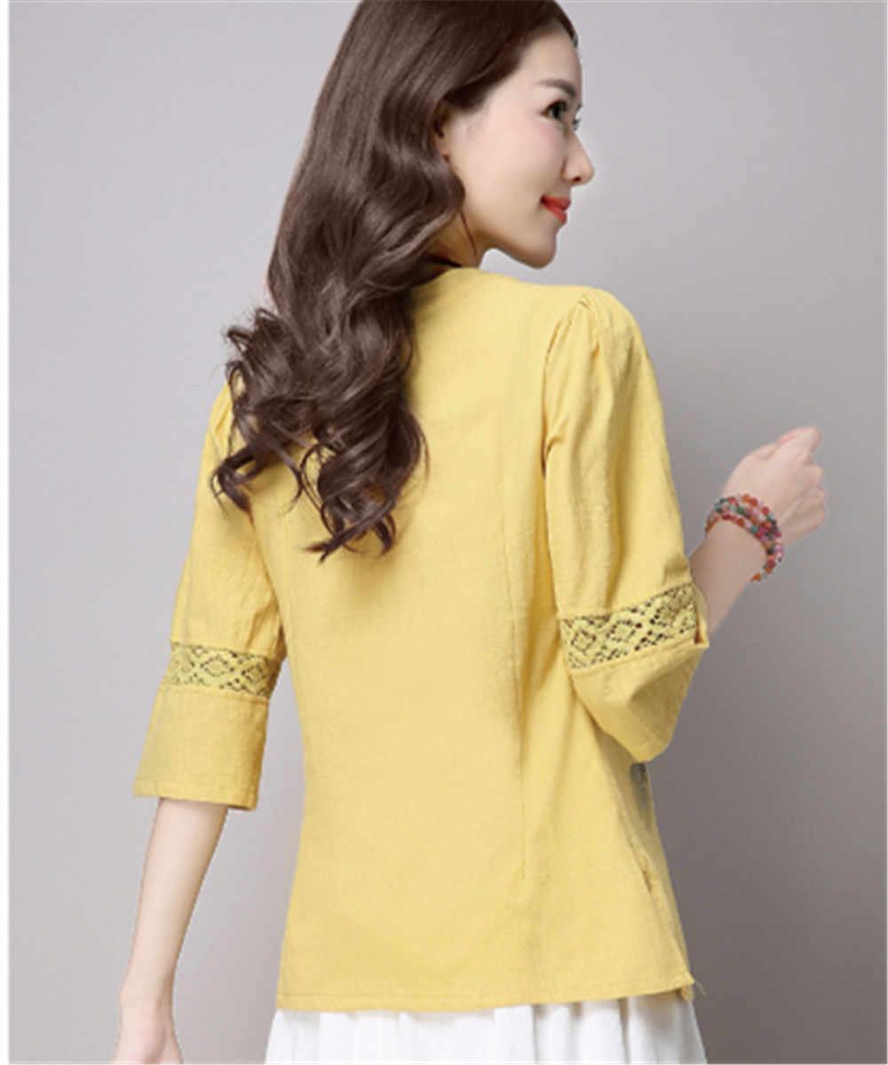 2018 G-LIKE新しい伝統的な中国女性唐スーツセットホットスタイル印刷コットンリネン通気性衣類快適な服