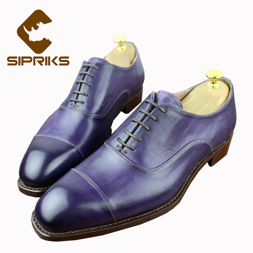 Sipriks Mens Goodyear Welted Shoes Luxury Mens Purple Dress Shoes Male Wedding Shoes Fashion Mens Church Shoes Leather Sole New