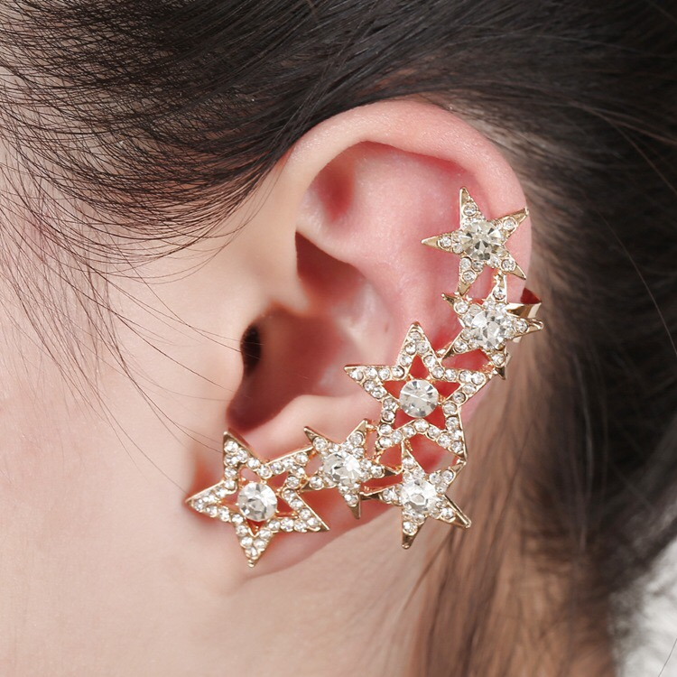 1pcs Right Left Ear Clip Fashion Star Earcuff Jewelry Gold tone Clip On Earrings Ear Cuffs For Women золотые серьги по уху