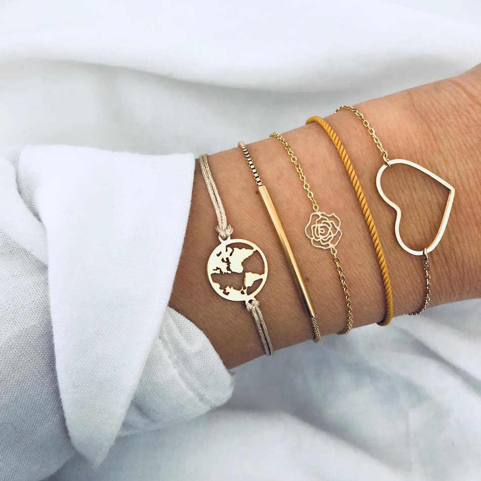 האופנה בוהמיה קריסטל חרוזים קסם צמידי סט לאישה זהב מפת צב ורוד שרוול שרשרת צמיד תכשיטי צד נשי מתנה