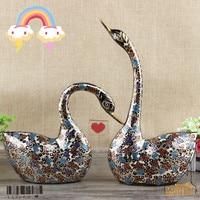 Pakistan carved bronze painted handmade art decoration wedding couple fat Swan wedding gift ornaments