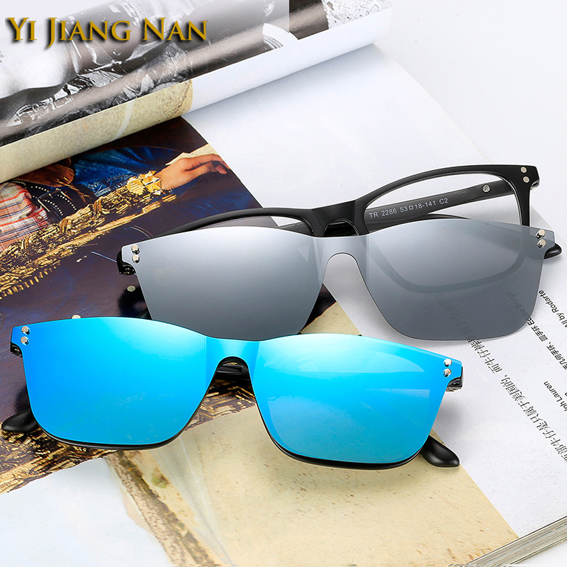 Sunglasses Mirrored Polarized Women Magnet-Clip-Lenses Optical-Frame Yi Brand TR90 Nan