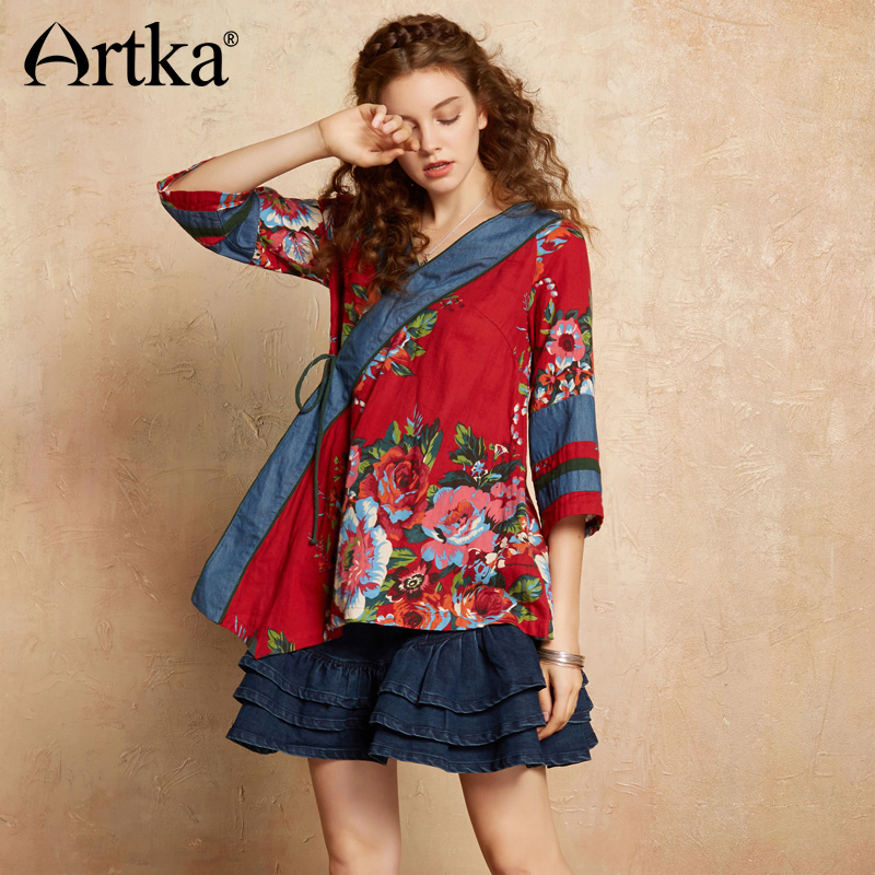ARTKA 2018 Autumn Women Cotton Ethnic Wild Floral Print V neck Three Quarter Sleeve Drawstring Patchwork