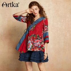 ARTKA 2018 Autumn Women Cotton Ethnic Wild Floral Print V-neck Three Quarter Sleeve Drawstring Patchwork Blouse Shirt S110077C