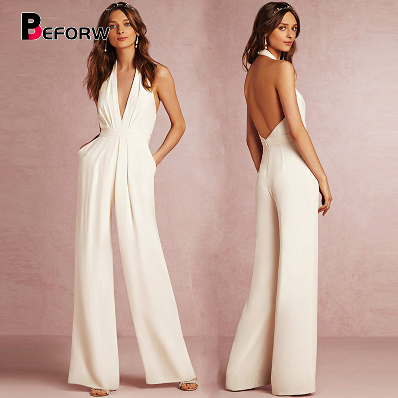 Beforw New Casual Wedding Jumpsuit Sexy Sleeveless Halter Elegant Jumpsuit Ladies Coverall Deep V Sexy Halter Jumpsuit