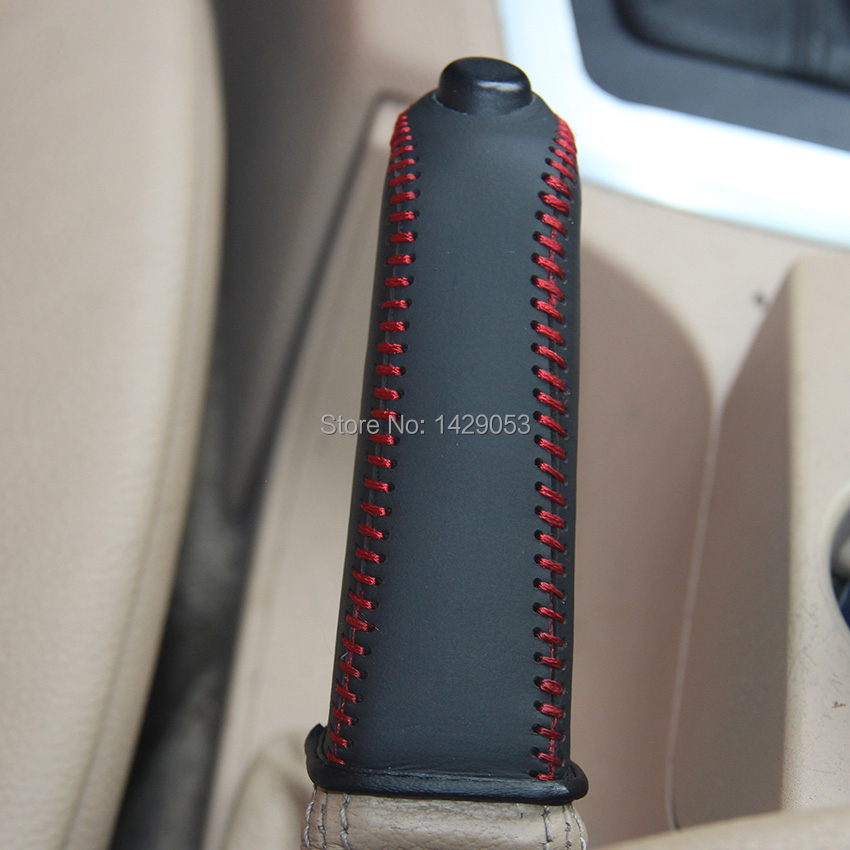 Case For BMW X3 2008 Handbrake Covers Genuine Leather Car Styling Handbrake Grips Black / Red Lines