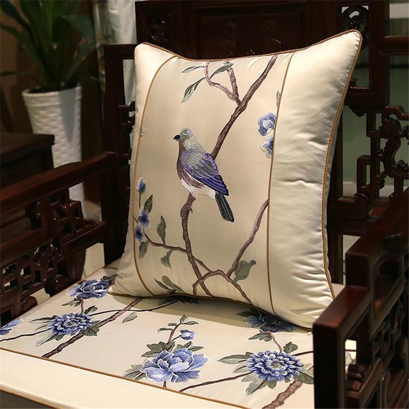 free shipping classical magpie throw <font><b>Pillow</b></font> with inner <font><b>50x50cm</b></font> <font><b>Pillow</b></font> embroidery sain cushion <font><b>pillow</b></font> chair <font><b>decorate</b></font> image