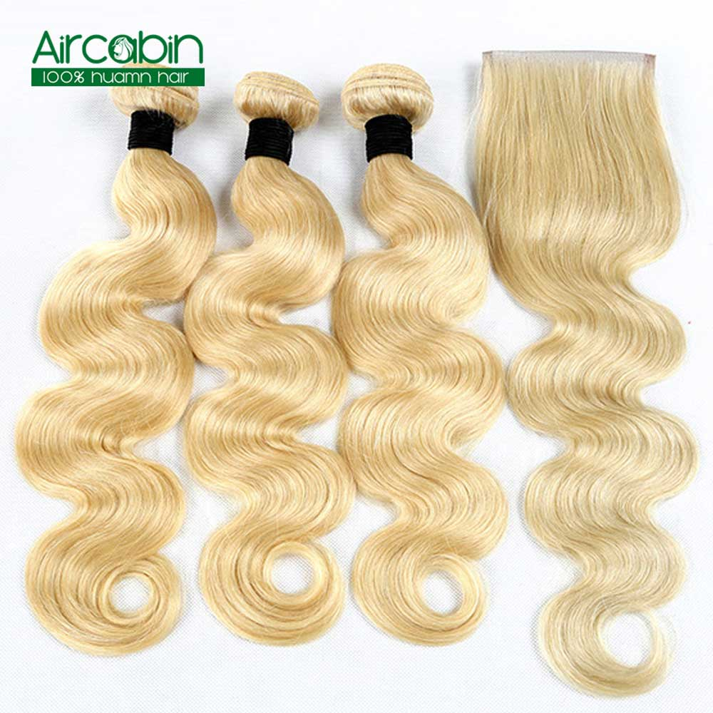 Brazilian Body wave Hair 3 Bundles With Closure Blonde Full 613 Color Non Remy 100 Human