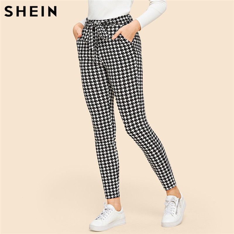 SHEIN Drawstring Waist Houndstooth Pants Mid Waist Straight Leg Pants 2019 Autumn Casual Women Trousers 2