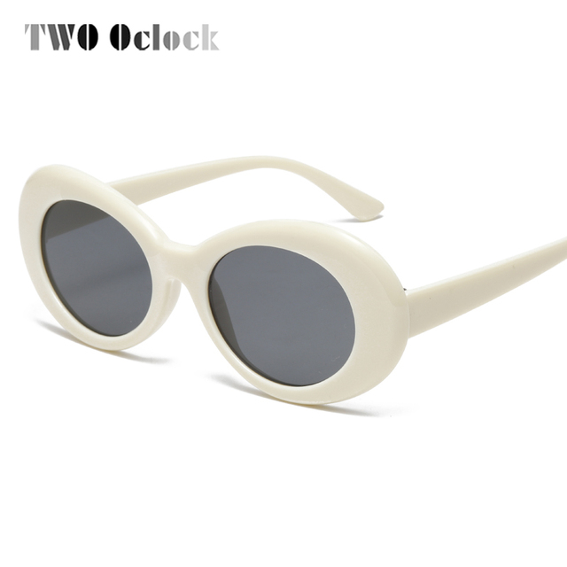 be14ea0e579 TWO Oclock Retro Oval Sunglasses NIRVANA Clout Goggles Sunglasses Men Women  Vintage White UV400 Sun Glasses