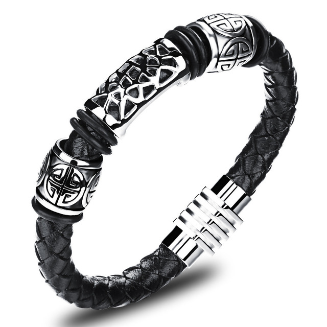 Real Leather Knitted Man Bangles Vintage Stainless Steel