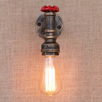 KINLAMS Modern Vintage Loft Industrial Metal Wall Light Retro Water Pipe E27 Bulb Wall Lamp Country