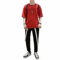 Rlyaeiz 2019 Summer Casual Sporting Suits Men Tracksuit Comfortable Striped T shirts + Pants Two Pieses Sets Male Sweat Suit