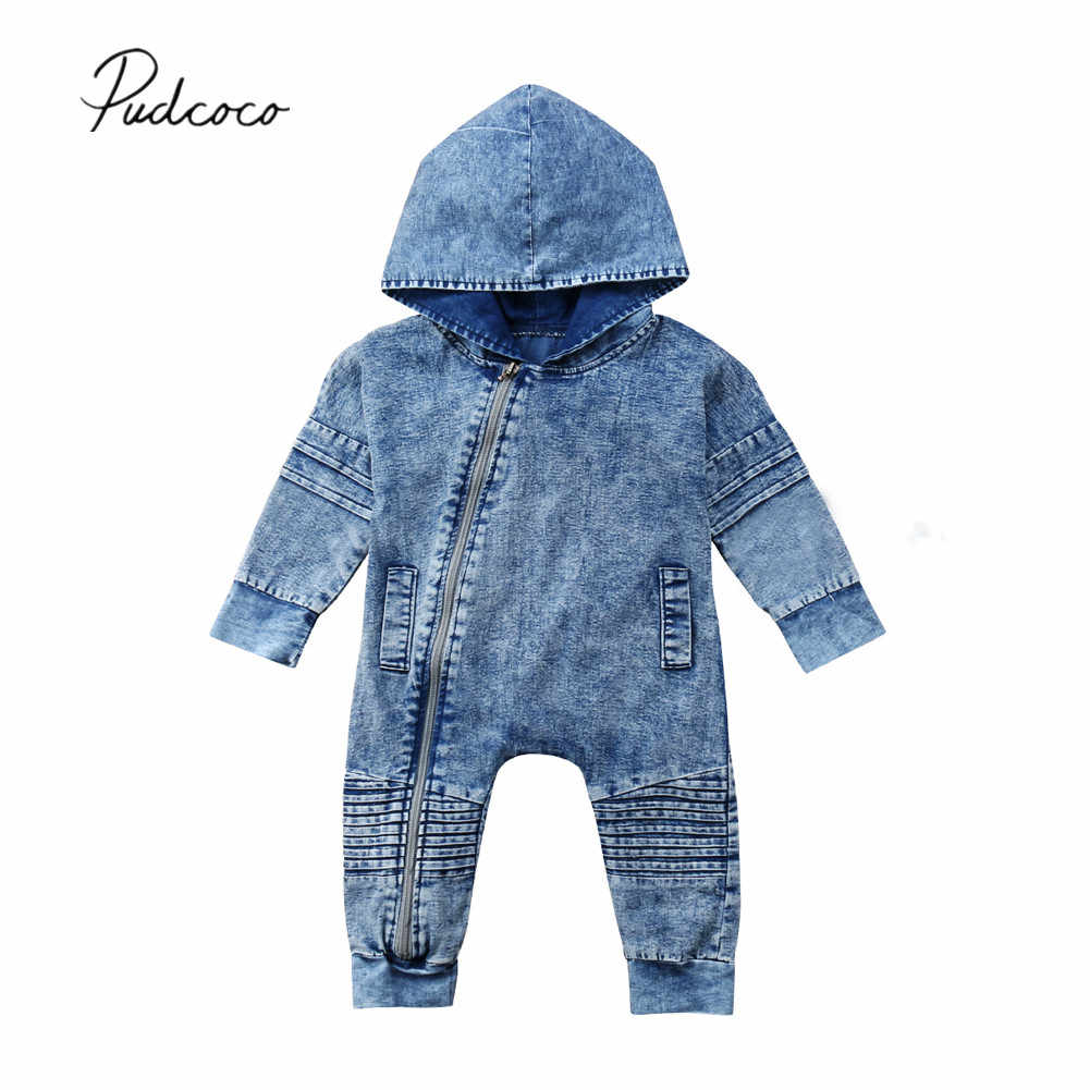723b2802cf2 2018 Brand New Newborn Toddler Baby Boy Girl Denim Hooded Romper Playsuit  Pants Outfit Zipper Washed
