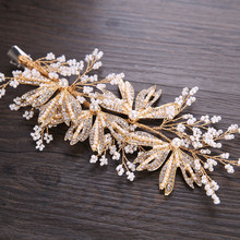 Fashion Wedding Women Bridal Jewelry Hairpin Accessories Exquisite Rhinestone Crystals Pearl Flower Long Hair Comb For Bride(China)