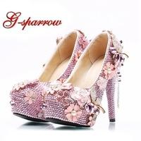 2018 цена оптовой продажи розовый со стразами свадебные туфли свадебные на высоком каблуке платформы для девочек туфли лодочки на выпускной
