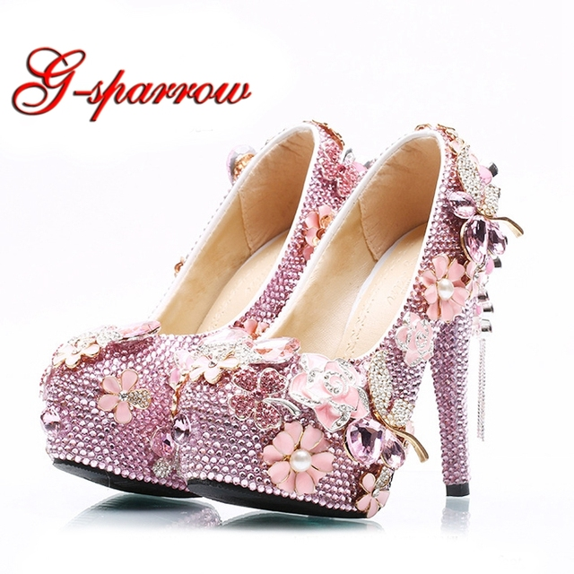 2018 Wholesale Price Pink Rhinestone Wedding Shoes Bridal High Heels  Platforms Girl Prom Party Pumps Plus ffb3f5b20492
