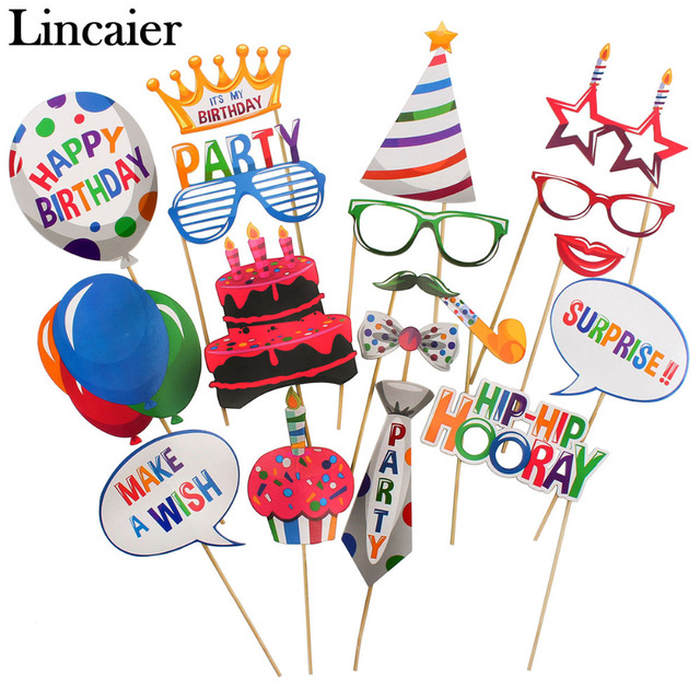 Lincaier 18 Pieces Photo Booth Props Kids Happy Birthday Party