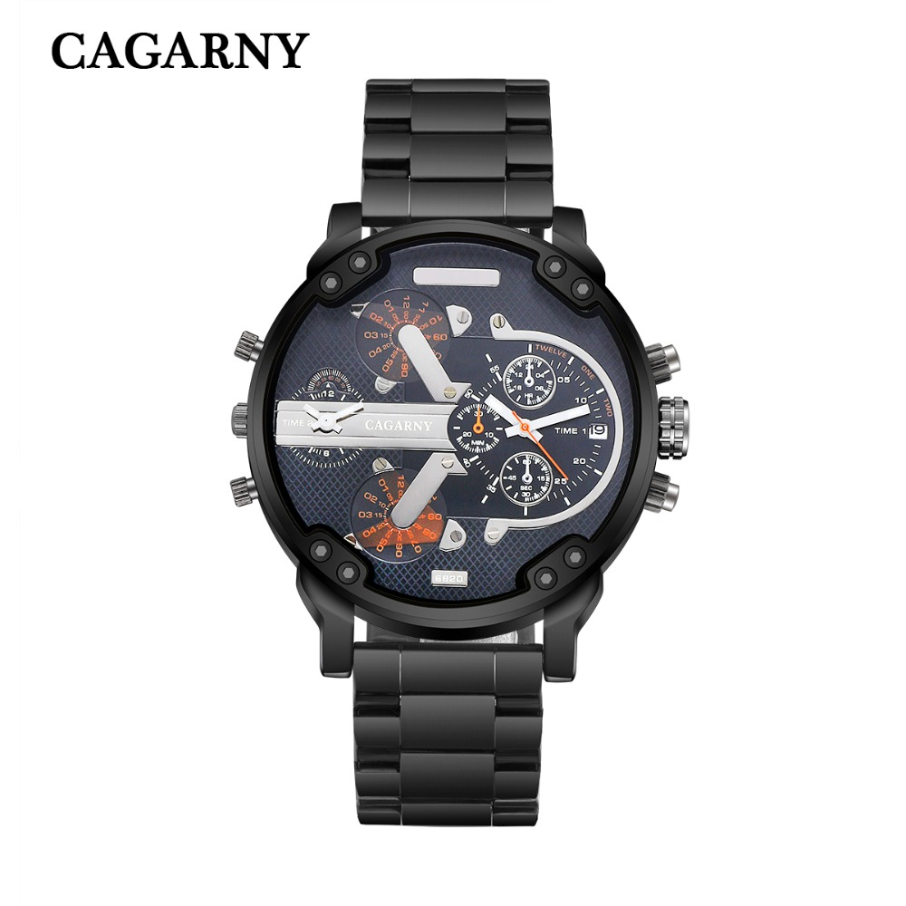 very cool dz 7314 7313 7333 7371 big case mens watches full steel band dual time zones miltiary watch men quartz wrist watch free shhipping (82)