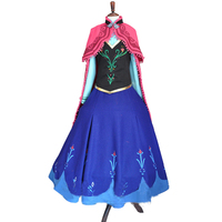 2016 Adult Clothing women Party Dress New Edition Deluxe Princess Elsa Anna Cosplay Dress with hat and gloves
