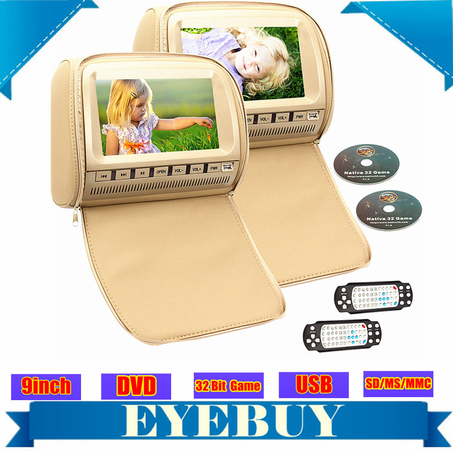 pair 9inch universal car dvd player headrest pillow auto DVD Player audio monitor USB sd FM