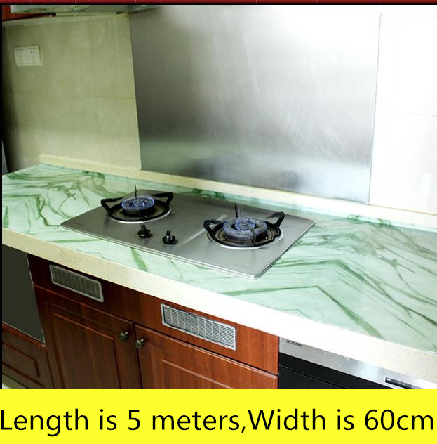 Kitchen Imitation Marble Countertop Wallpaper High Temperature Waterproof  Self Adhesive Renovation Wallpaper 5 Meters