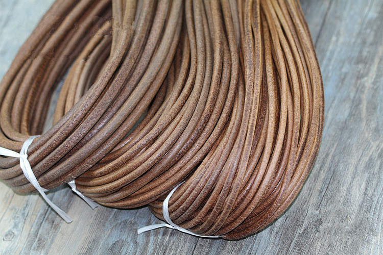 2Meter High Quality Dark Antique Brown 1-8mm Round Genuine Leather Jewelry Cord String Lace Rope DIY Necklace Bracelet Findings artificial leather rope round collarbone necklace