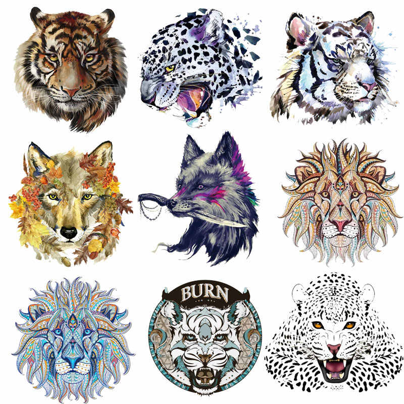 Iron on Stickers for Clothes Fashion Wolf, Lion, Tiger Head Animal Patches  Clothing Applications Diy Tops Stripes Badges Top E