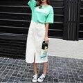 2017 женщин опрятный стиль средней длины Высокая талия Пакет хип джинсовая юбка подол сплит повседневная твердые джинсы женские юбки для