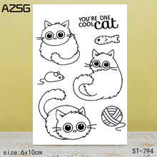AZSG Big-eyed cat Clear Stamps/Seals For scrapbooking DIY Card Making/Album Silicone Decoration crafts