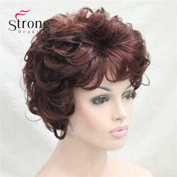 Short Soft Tousled Curls Dark Auburn Full Synthetic Wigs Women\'s Wig COLOUR CHOICES